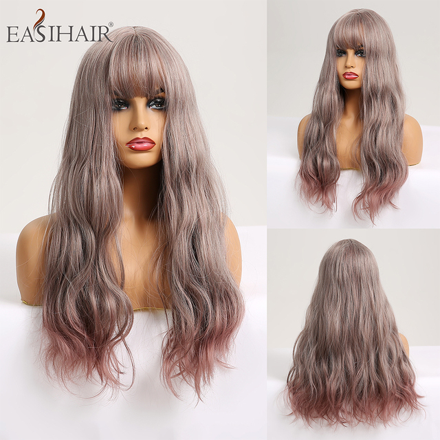 EASIHAIR długie ciało fala peruki syntetyczne dla kobiet szary do fioletowego Ombre sztuczne włosy Cosplay peruki z grzywką peruki termoodporne