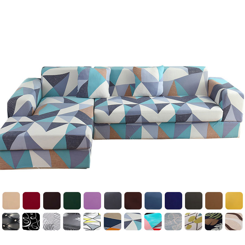 Sofa Cover Geometric Solid Color Cover For Corner Sofa Elasticity Sofa Chaise Cover Lounge L Shape
