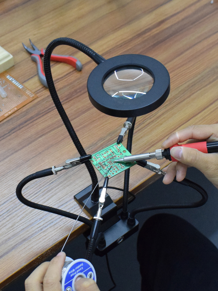 NEWACALOX 3X Magnifier Vise Table-Clamp Bench Third-Hand-Tool Hand-Soldering Station