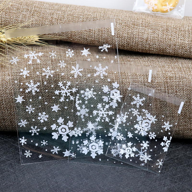 100pcs White Snow Flower Candy Cookie Dessert Bags Christmas Cellophane Bags Party Cookie Sweet Candy Biscuit X-mas Gift Bag