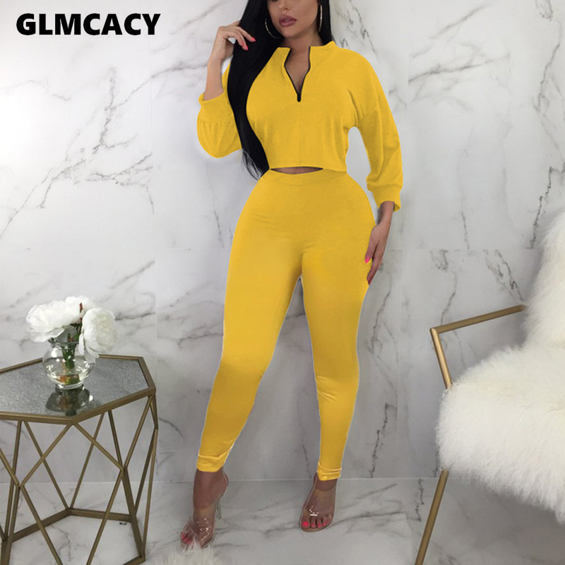 Women Casual O-neck Zipper Solid Women Sets Autumn Streetwear Short Top And Ankle-length Pants Two Pieces