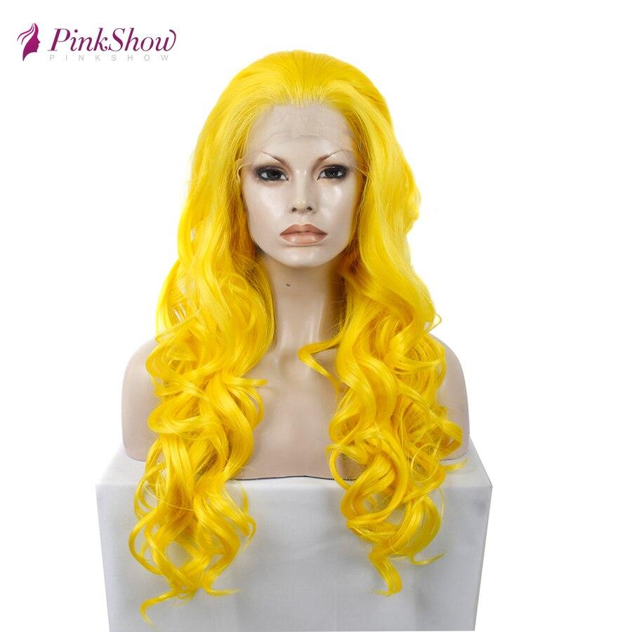 Pinkshow желтый парик длинные волнистые синтетические кружевные передние парики для женщин термостойкие волокна Glueless косплей парик