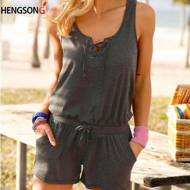 Solid Summer Playsuit Women's Rompers 2020 New Sleeveless Overalls For Women Lace-up Casual Loose Jumpsuits 1