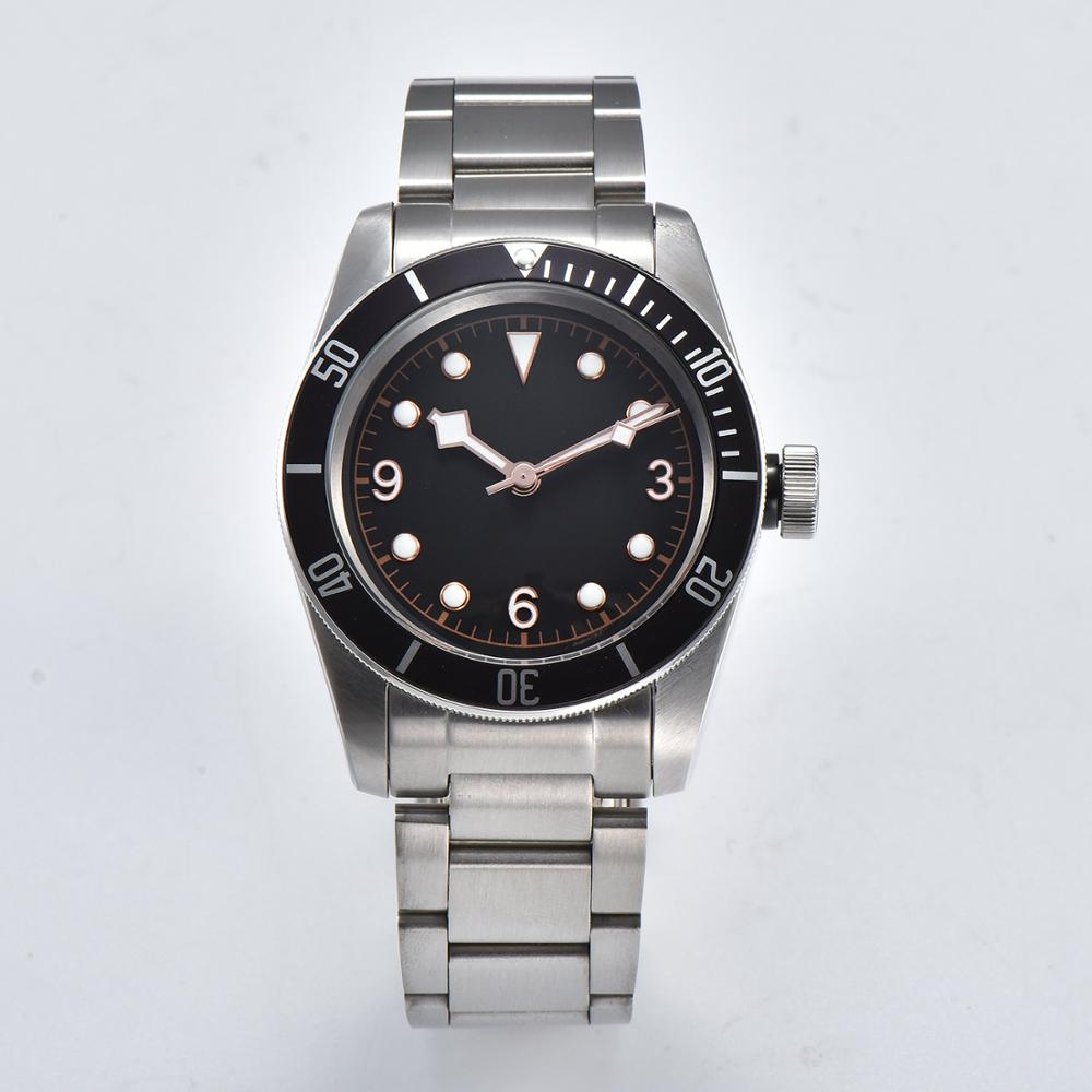 watch 41mm Automatic movement Steel bracelet casediving bay military luminous pointer steel strap mineral glass black dial D8