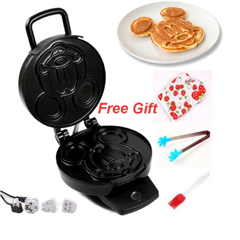 220V adorables formas de dibujos animados máquina eléctrica para hacer gofres pastel para el desayuno Placa de hierro para hornear máquina antiadherente para tortas - 3