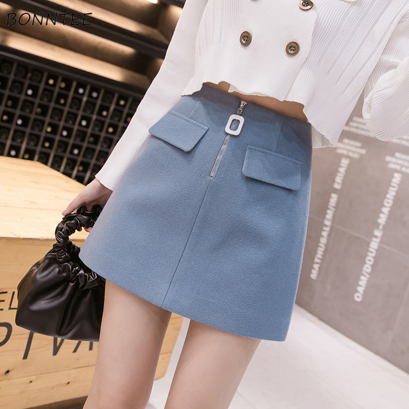 Skirts Women A-Line Korean Style High Quality All-match Slim Zipper Empire Students Soft Ladies Chic 2020 New Womens Skirt Daily