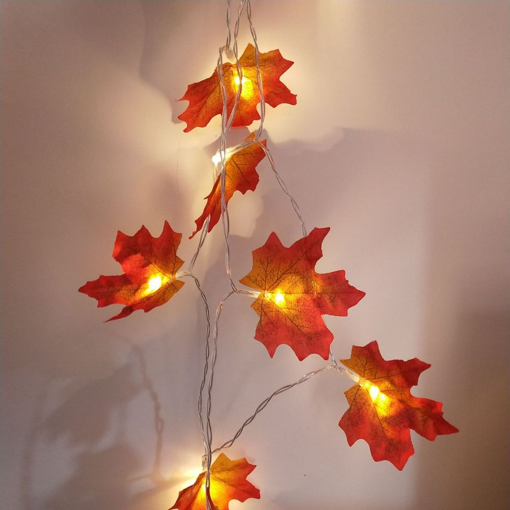 3AA Battery Powered Maple Leaf String Lights Garland For Outdoor/indoor Thanksgiving Decor