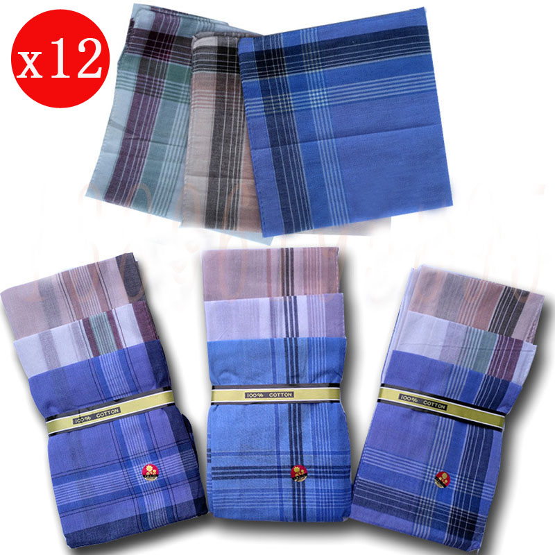 12pcs Plaid Stripe Men Handkerchiefs Multicolor Women Pocket Squares Business Chest Towel Pocket Hanky Hankies Scarves