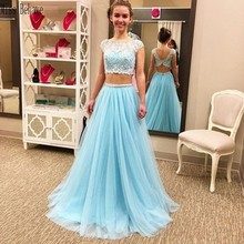 цена на DD JYOY Two Pieces Long Evening Dress 2020 Two Pieces A Line Long Prom Dress Party Gown Lace Body Open Back