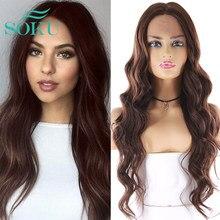 SOKU-Peluca de cabello sintético con malla con división frontal para mujeres negras, pelo largo ondulado con ombré Blone, resistente al calor