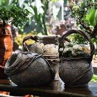 Pastoral Imitation Coarse Ceramic Pot Cement Flowerpot Meaty Green Plant Ornaments courtyard garden Furnishing Decoration Crafts