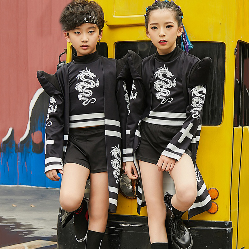 Hip Hop Dance Costumes Kids Printing Jazz Performance Clothing Street Dance Practice Dancing Wear Black Stage Rave Outfit DC2993