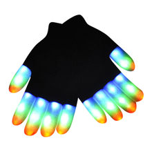 Baby Gloves Children LED Finger Lighting LED Rave Gloves 7 Colors Light Knitted Stretch Mittens gloves Guantes para niños(China)