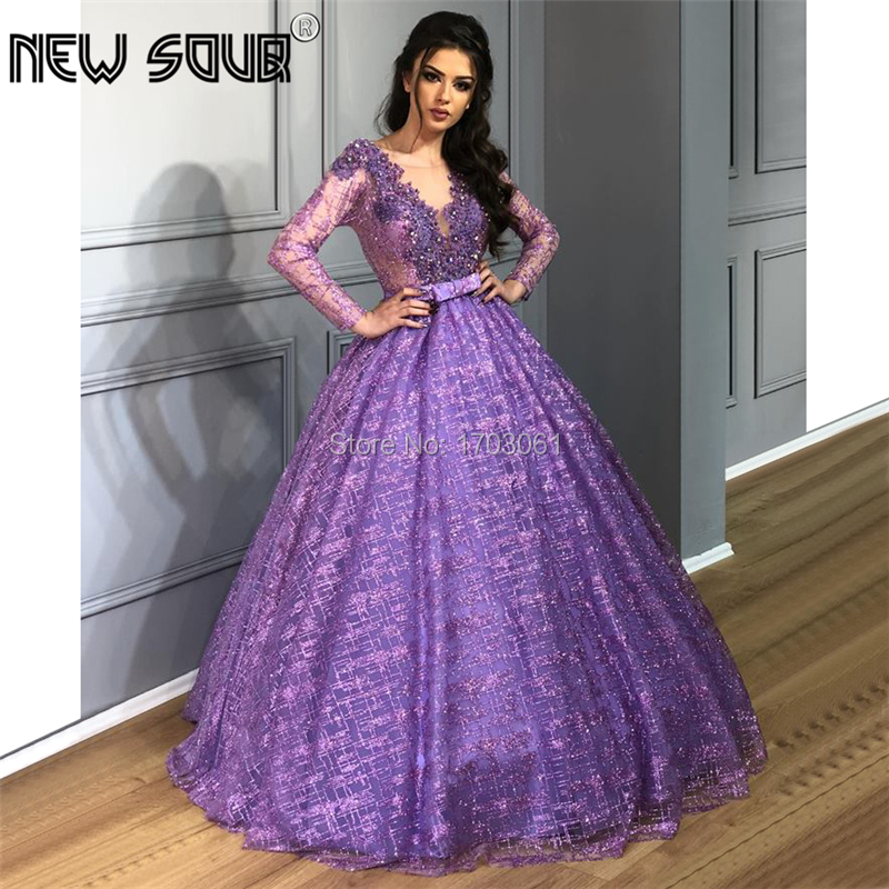 Arabic Islamic Beading Glitter   Evening     Dresses   2019 New Couture Dubai Formal Prom   Dress   Puffy Shiny Party Pageant Gowns Vestidos