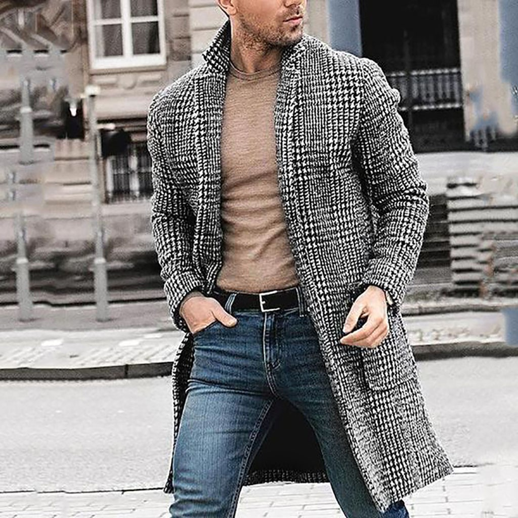 Men Wool Blends Coat Jacket Casual Houndstooth Gentlemen Long Coat Jacket Autumn Winter Mens Wool Blends Coat Outwear Male Tops