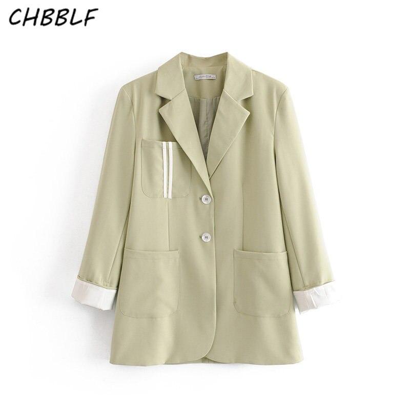 CHBBLF Women Basic Solid Blazers Long Sleeve Pockets Pink Green Female Outwear Elegant Jacket Coat Tops DFT27363