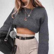 ALLNeon Round Neck Solid Cropped Women Sweaters Long Sleeve Loose Knitting Short Pullover for Female Basic Jersey Mujer Casual