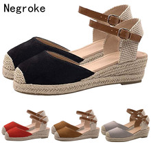 Espadrilles Flat Sandals Women Wedges Shoes Pumps High Heels Autumn Ankle Buckle Platform Sandalia Feminina