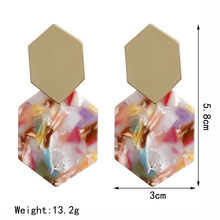 купить jade earrings  rose gold  opal  wedding earrings Hexagonal diamond shaped metal earrings Geometric acrylic emerald earringE6044 по цене 291.79 рублей