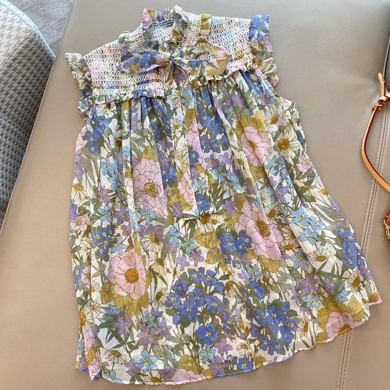 Женская шелковая блузка с принтом, элегантная Весенняя блузка без рукавов, новый топ, винтажная женская блузка, рубашка