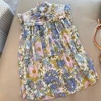 Women Silk Print Blouse Elegant Spring Sleeveless New Top Vintage Women's Blouse Shirt