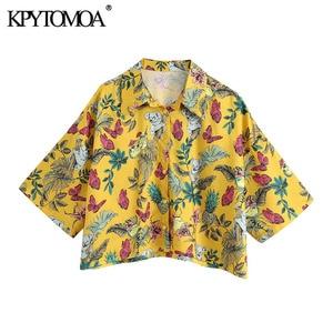 KPYTOMOA Women 2020 Fashion Animal Print Loose Cropped Blouses Vintage Short Sleeve Button-up Female Shirts Blusas Chic Tops