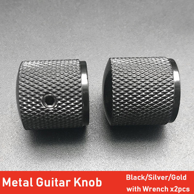 2pcs Metal Dome Tone Volume Control Knobs for Bass Guitar With Hexa-screw Lock Black Chrome Gold Guitar Parts
