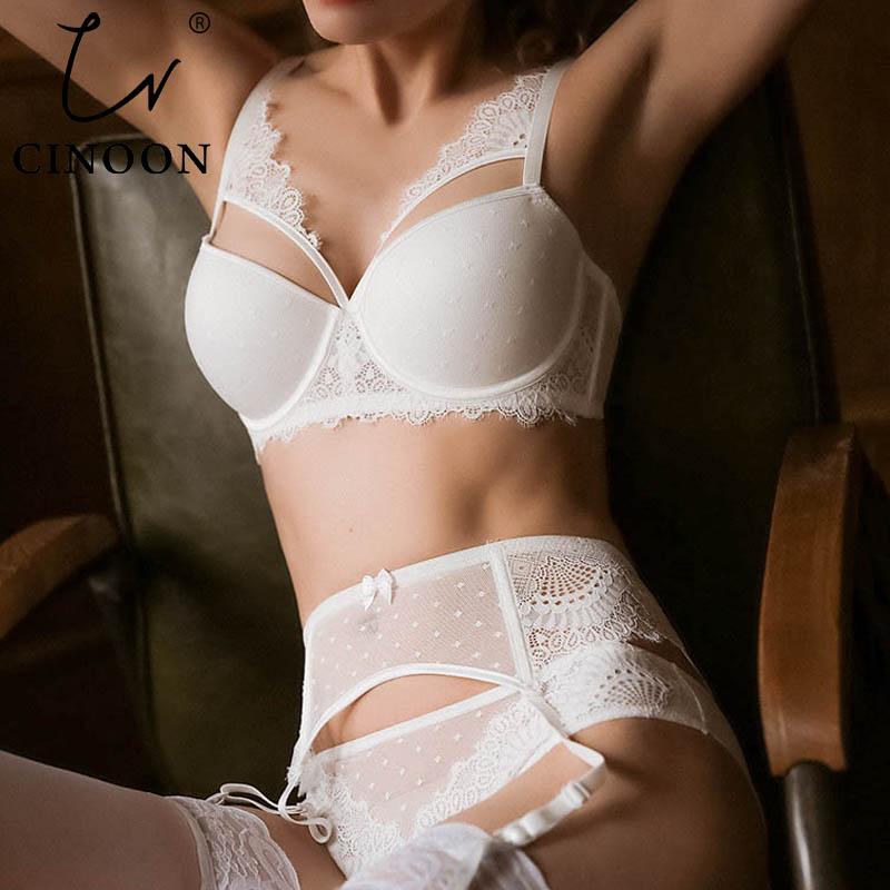 CINOON New Plus Size Underwear Sexy Lingerie Set Push Up Bra Set Intimates Temptation Lace Bra+panties+garter 3 PcsLots
