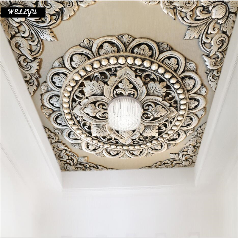 Wellyu Custom Wallpaper 3d 3d Photo Murals обои Silver Jewelry Flower European Style Background Ceiling Wallpaper For Walls 3 D