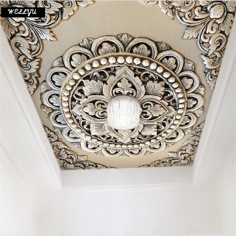 Wellyu Custom Wallpaper 3d 3d Photo Murals обои Silver Jewelry Flower European Style Background Ceiling Wallpaper For Walls 3 D