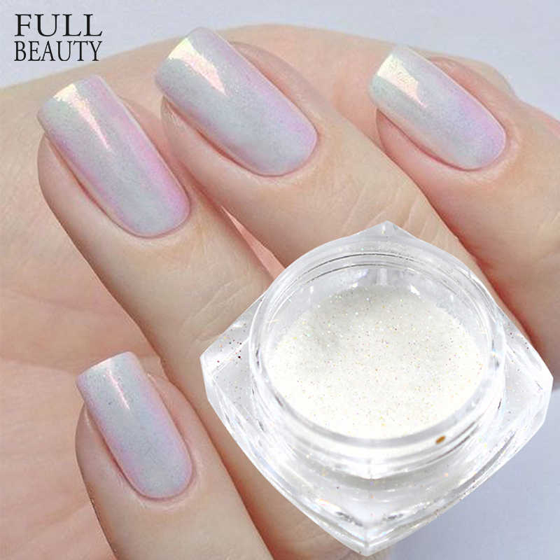 1G Mermaid Pigment Poeder Op Nagels Wit/Zilver/Goud Super Shimmer Magic Nail Glitter Laser Manicure Decoraties CHM05/09/10