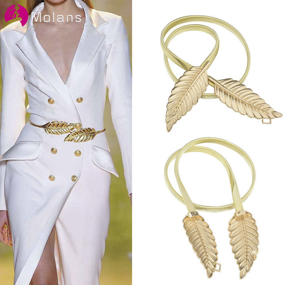 Molans Golden Leaf Shape Wedding Elastic Strap Decorative Stretchy Skinny Bridal Belt Metal Female Strap For Women Girls