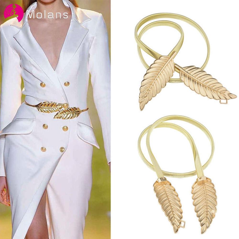 Molans Golden Leaf Shape Wedding Elastic Strap Decorative Stretchy Skinny Bridal Belt Metal Female Strap For Women Girls