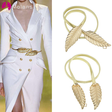 Molans Golden Leaf Shape Wedding Elastic Strap Decorative St