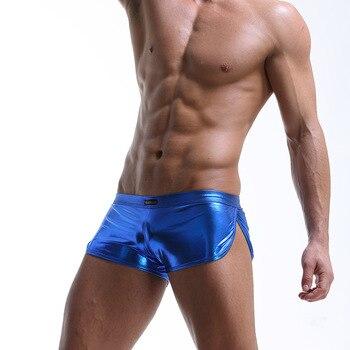 Unterwäsche Männer Sexy U Pouch Faux Leder Höschen Boxer Shorts  1