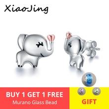 XiaoJing Authentic 100% 925 Sterling Silver Gold Heart Animal Little Elephant Earrings for Women Jewelry Gift Top sale 2019