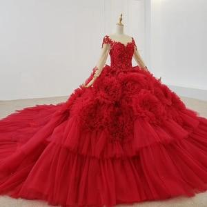 Image 2 - HTL1280 高級光沢のある女性の日のドレス o ネック長袖レースアップバックレッドレース婚約とロングドレスロングトレイン