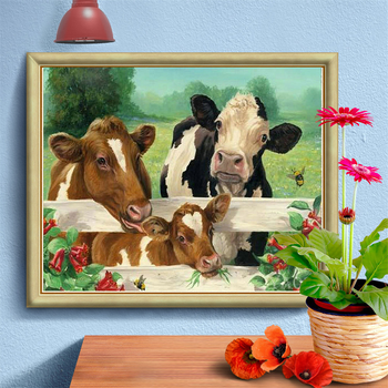 HUACAN Full Square Round Diamond Embroidery 5D Cattle Animal Painting Cross Stitch Picture Handcraft Mosaic