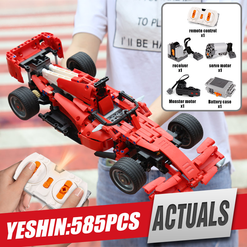 Yeshin MOC Motor Funktion Autos Technik Motor Auto F1 Formel Speed Racing Auto Bausteine Ziegel Montage Auto Modell Kinder spielzeug-in Sperren aus Spielzeug und Hobbys bei  Gruppe 1