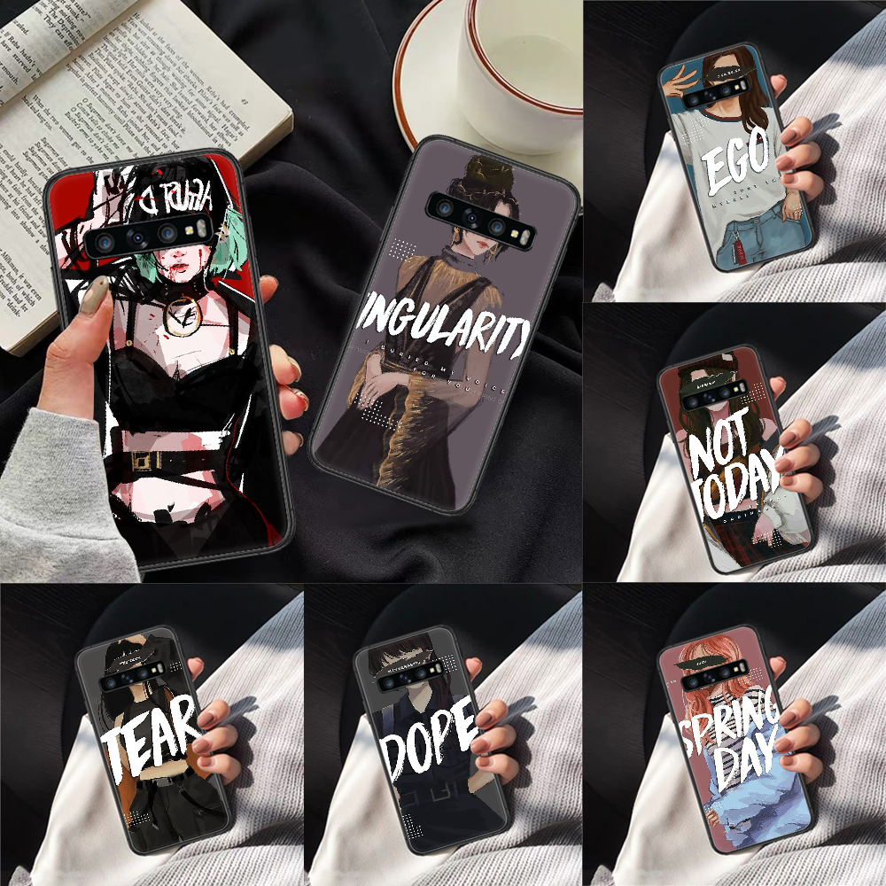 BTS FANARTS Phone Case Cover Hull For Samsung Galaxy S 7 8 9 10 E 20 FE Edge Uitra Plus Note 9 10 20 Black Cell Silicone Funda