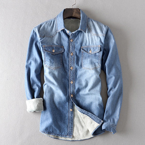 Image 5 - 新しい冬厚いデニムシャツ長袖暖かいジーンズシャツソフト快適なスリムフィットターンダウン襟冬服