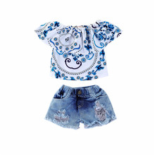 1-4T toddler clothes for baby girl clothing flower printed sets 2019 infants summer 2 pieces outfit