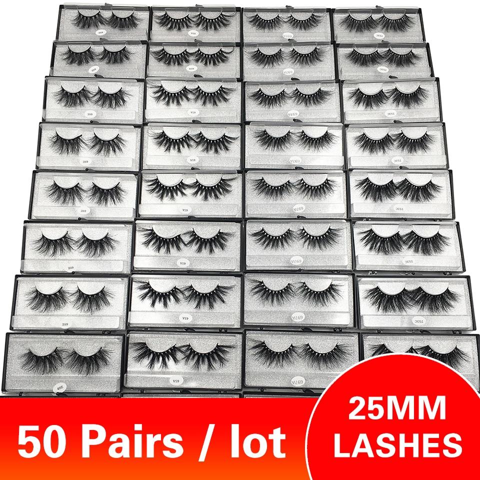50 pares lote 25mm cilios atacado granel vison cilios 29 estilos longo macio dramatico olho cilios