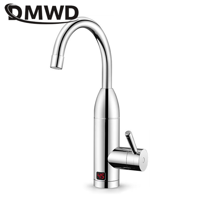 DMWD Electric Instant Heating Faucet With LED Temperature Display Tankless Water Heater Hot Cold Dual-use Fast Heating Household