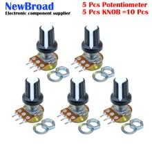 5 комплектов WH148 1-10K 20K 50K 100K 500K Ohm 15 мм 3 штифта линейный подшипник с коническим поворотный потенциометр резистор для Arduino с AG2 белый колпачок