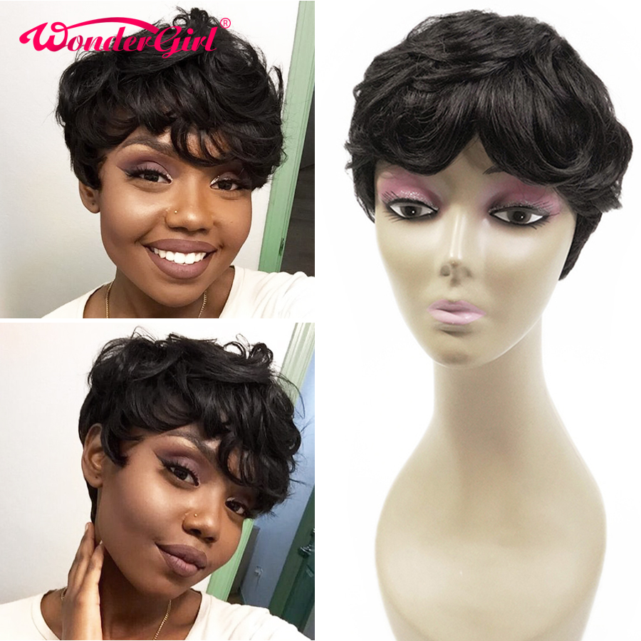 Wonder Girl Pixie Cut Wig Short Curly Human Hair Wigs For Black Women Remy Brazilian Bob Wig 150% Wavy Full Machine Wig