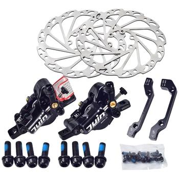 цена на Juin Tech M1 Mountain MTB Bicycle Disc Brake Set Cable Line Pull hydraulic Disc Caliper 160mm Alloy Bike Disc Brake