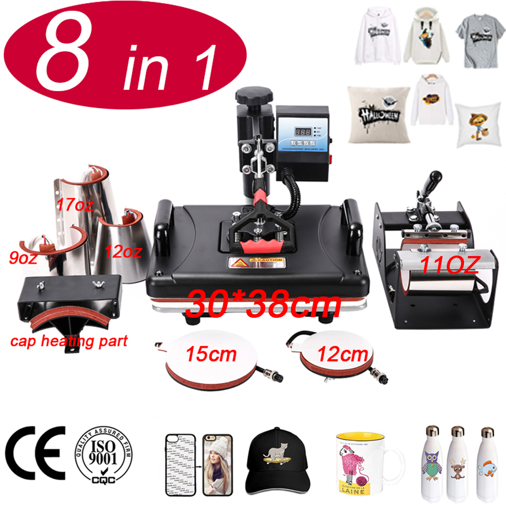 8 In 1 Heat Press Machine,Sublimation Printer/shoe Transfer Machine Heat Press For Mug/Cap/T shirt/bottle