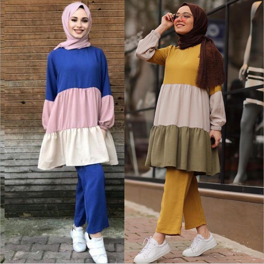 2 Pieces hit color muslim suits Muslim sets female Kaftan Islamic abayas Grote Maten Dames Kleding Ensemble Femme Musulmane