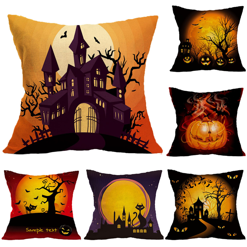 Halloween Ghost Castle Black Cat Pillowcases Seat Sofa Pillow Cover Linen Cotton Square Green Cushion Cover For Home Decoration
